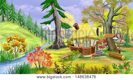 Idyllic landscape with Small Fairy Tale House Near the River in the Autumn Forest. Digital Painting Background Illustration.