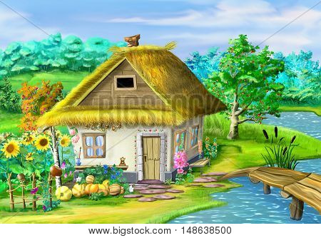 Traditional Ukrainian building in the old village in the depths of eastern Europe. Digital Painting Background Illustration in cartoon style character.