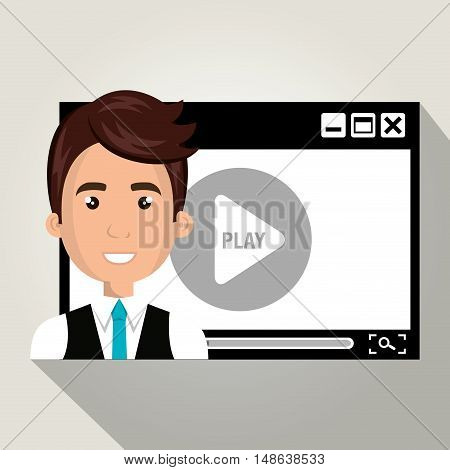 avatar man smiling wearing suit and tie and video media player. vector illustration