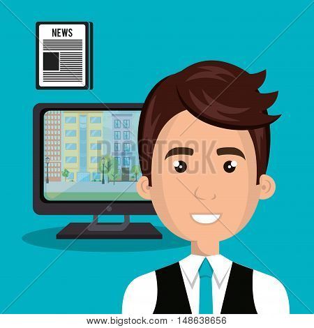 avatar man smiling wearing blue tie and computer and news icon. vector illustration