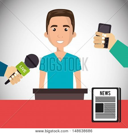 avatar man smiling wearing blue shirt and journalists hands with news microphones and newspaper icon. vector illustration