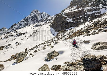 View of Himalayas range during Everest Base Camp Trekking in Nepal.