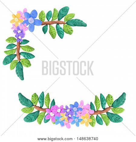 Plasticine  colorful decorative floral elements sculpture isolated on white