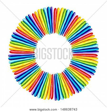 Plasticine  colorful rainbow frame sculpture isolated on white