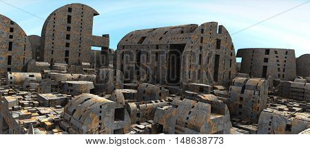 3D illustration of virtual scene with ghost town