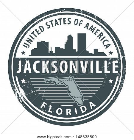 Grunge rubber stamp with name of Florida, Jacksonville, vector illustration