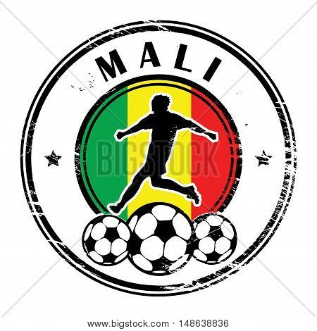 Grunge stamp with football and name Mali, vector illustration