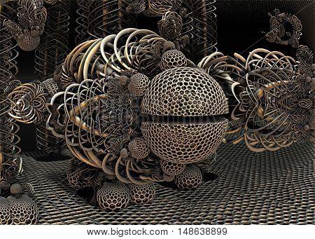 3D illustration of virtual progressive and futuristic engine
