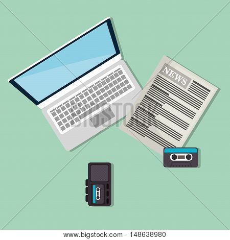 newspaper with laptop computer and recorder cassette devices. top view. vector illustration
