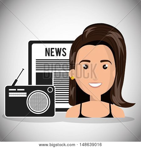 avatar woman smiling with retro radio and newspaper. vector illustration
