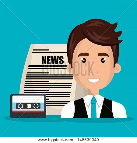 avatar man smiling with newspaper and cassette. vector illustration