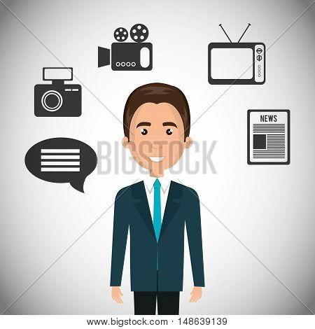 avatar man smiling wearing suit and blue tie and news icons set. vector illustration