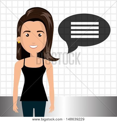 avatar woman smiling wearing black shirt and blue pants and speech message bubble. vector illustration