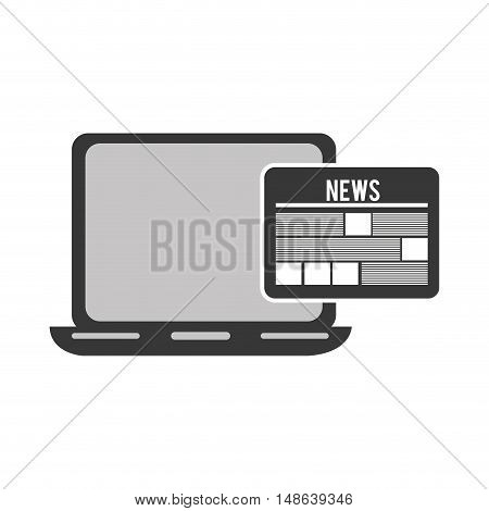 laptop computer technology device with newspaper icon. vector illustration