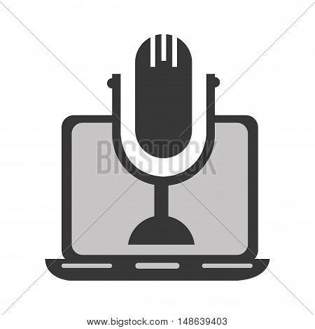 laptop computer technology device with retro microphone icon. vector illustration