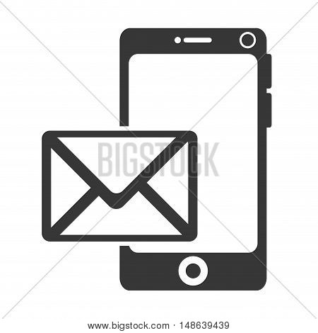 smartphone mobile phone and envelope mail. communication and technology device. vector illustration