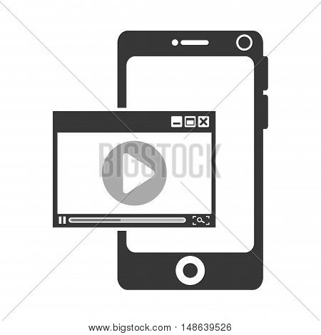 smartphone mobile phone and video media player. communication and technology device. vector illustration