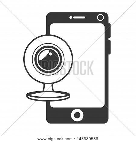 smartphone mobile phone and web cam. communication and technology device. vector illustration