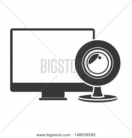 computer monitor screen technology device with web cam icon. vector illustration