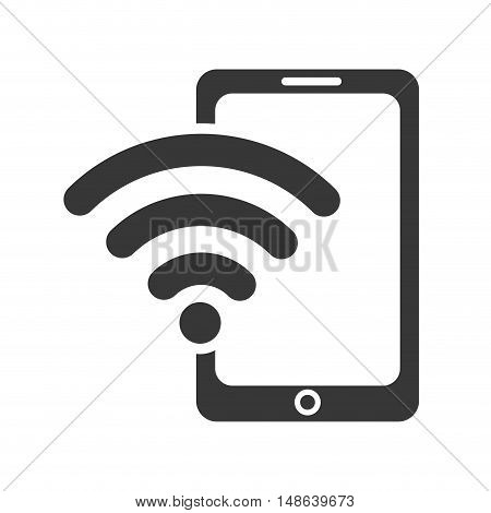 smartphone mobile phone and wireless waves icon. communication and technology device. vector illustration