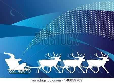 Christmas card - sledge with Santa Claus, vector illustration