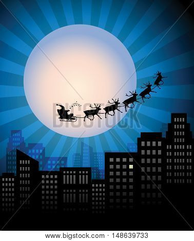 Santa's Sleigh over city at night, vector illustration
