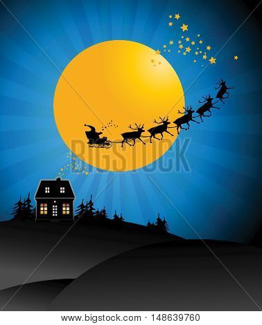 Santa's Sleigh in sky poster, vector illustration