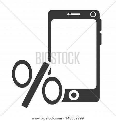 smartphone mobile phone and percentage symbol. technology device. vector illustration
