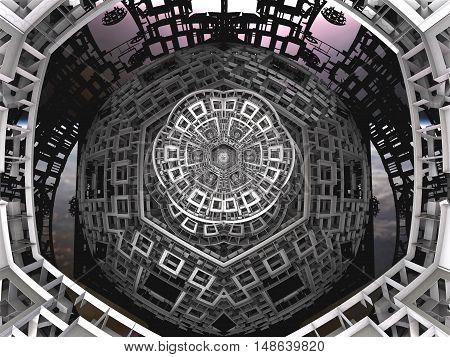 3D illustration of virtual textured detail of futuristic spaceship