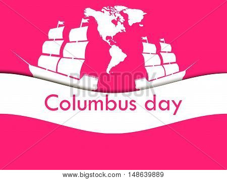Columbus Day the discoverer of America in the wake of the ship. Vector illustration.