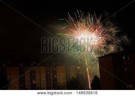 explosive colorful and spectacular fireworks used for a village festival