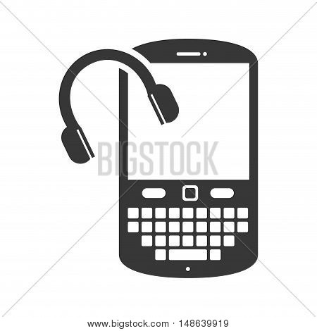 smartphone mobile phone with headset. music and technology device. vector illustration