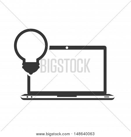 laptop computer technology device with bulb light icon. vector illustration