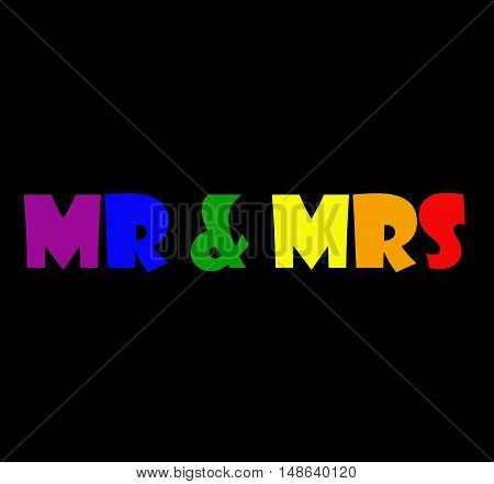 Abstract creative wedding Mr & Mrs greeting card scene