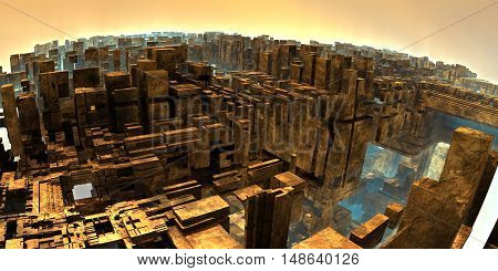 3D illustration of virtual scene with a fragment of futuristic megapolis