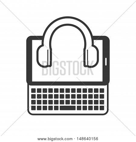 tablet and keyboard portable technology device with headset icon .vector illustration
