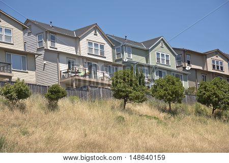 Family houses on a hillside in Richmond california.