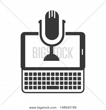 tablet and keyboard portable technology device with retro microphone icon .vector illustration