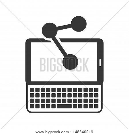 tablet and keyboard portable technology device with share symbol icon .vector illustration