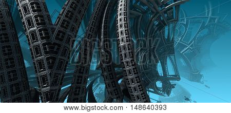 3D illustration of virtual undersea scene with abstract ship