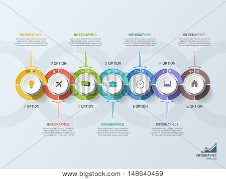 Timeline Business Infographic Template With 7 Steps, Processes, Parts, Options. Vector Illustration.