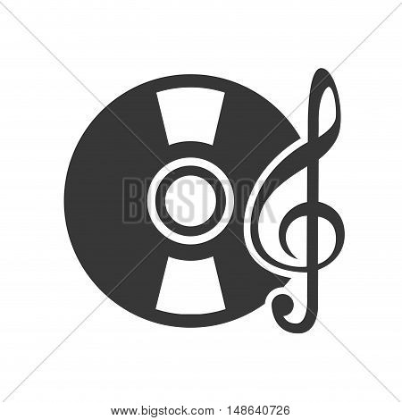 retro vinyl long play disc with musical notes symbol. vector illustration