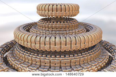 3D illustration of virtual futuristic spaceship in detail