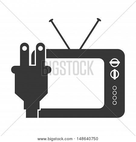retro television entertainment device with electric plug icon. vector illustration
