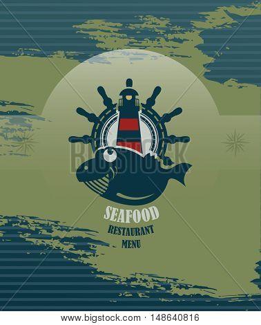 Seafood restaurant menu cover or poster, vector illustration