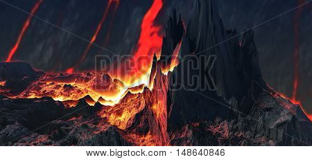 3D illustration of virtual scene with active volcano