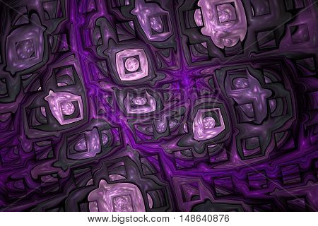 Abstract shining puzzles on black background. Fractal design in dark grey rose and purple colors.