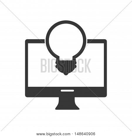 computer monitor screen technology device with bulb light icon. vector illustration
