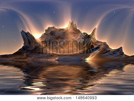 3D illustration of virtual scene with futuristic landscape and aurora reflected in water