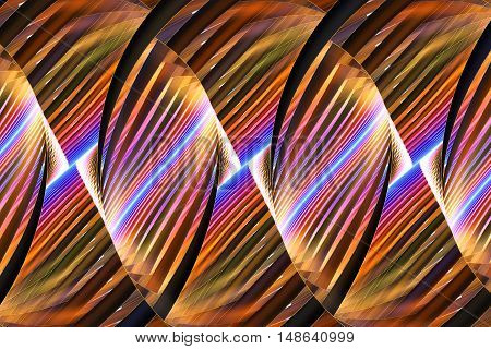 Multicolored stripes. Abstract fantasy ornament on black background. Computer-generated fractal in orange yellow pink blue and brown colors